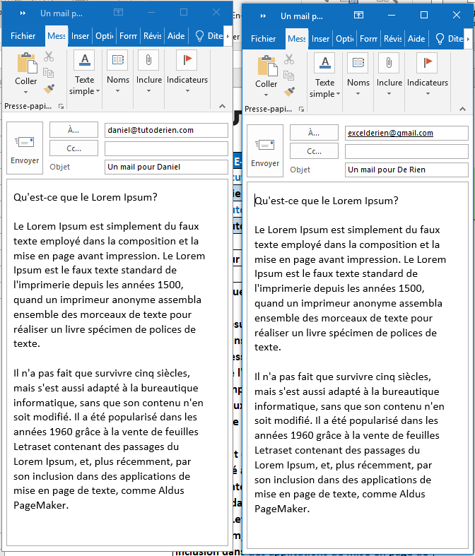 envoyer un mail outlook