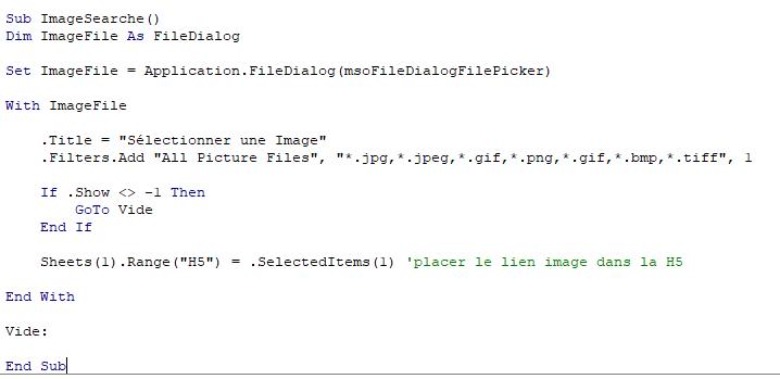 Travailler avec des images en VBA