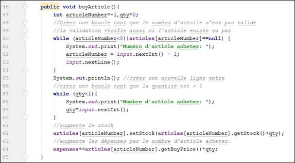 créer un magasin en Java