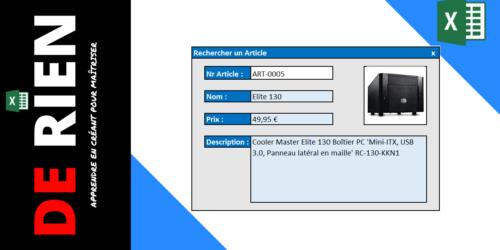 Alternatif pour les Userforms dans Excel